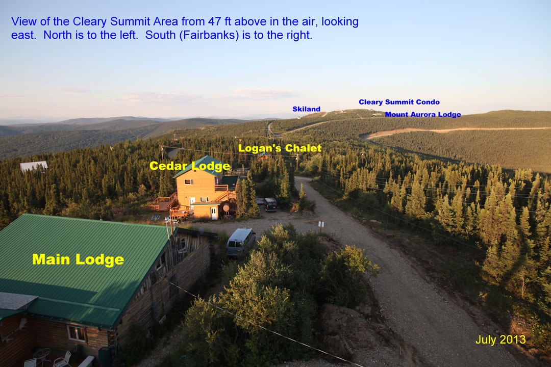 Aerial View of Aurora Borealis Lodge and Cleary Summit Alaska